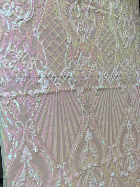 Mermaid Tail Sequins Designs Sold By The Yard Nude/Iridescent Pink 4 Way Stretch Fabric Sequins Fabric Embroidered Power Mesh Dress Top