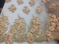 Gold Blush Bridal Design Flower Fabric Mesh Net Type Spider 3D Flowers Multi-Color For Dress By The Yard