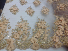 Load image into Gallery viewer, Gold Blush Bridal Design Flower Fabric Mesh Net Type Spider 3D Flowers Multi-Color For Dress By The Yard