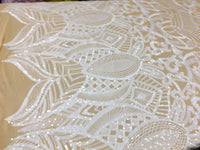 White Sequins Fabric 4 Way Stretch By Yard Embroidered On Nude Power Mesh With Shiny Sequins Dress Top