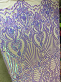 Mermaid Tail Sequins Designs Sold By The Yard Iridescent Lilac 4 Way Stretch Fabric Sequins Fabric Embroidered Power Mesh Dress Top