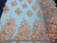 Peach Gold Bridal Design Flower Fabric Mesh Net Type Spider 3D Flowers Multi-Color For Dress By The Yard