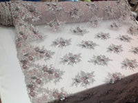 Dusty Rose Sage Bridal Design Flower Fabric Mesh Net Type Spider 3D Flowers Multi-Color For Dress By The Yard