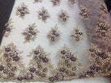 Egg Plant/Gold Bridal Design Flower Fabric Mesh Net Type Spider 3D Flowers Multi-Color For Dress By The Yard