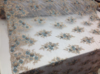 Gold/Turquoise Bridal Design Flower Fabric Mesh Net Type Spider 3D Flowers Multi-Color For Dress By The Yard