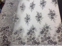 Silver Bridal Design Flower Fabric Mesh Net Type Spider 3D Flowers Multi-Color For Dress By The Yard