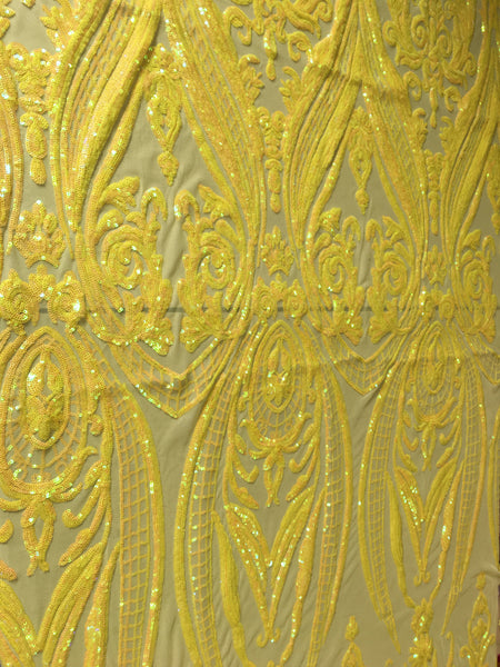 Egyptian Scarab Pincers Design Iridescent Yellow Sequins 4 way Stretch Wedding Prom Fabric Dresses Sold By The Yard