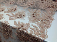 3D Flower/Floral BLUSH Beaded Fabric Diamonds with Pearl Fabric Wedding Dress Bridal Veil Fabric-Embroidered Flower Lace By The Yard