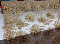 3D Flower/Floral GOLD Beaded Fabric Diamonds with Pearl Fabric Wedding Dress Bridal Veil Fabric-Embroidered Flower Lace By The Yard