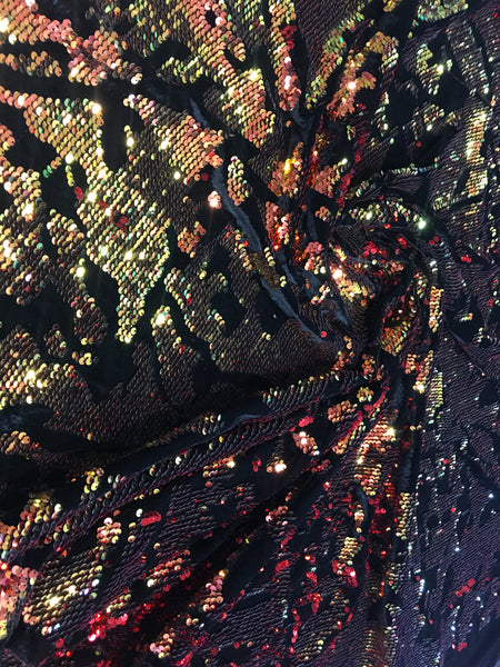 Stretch Velvet Sequins Iridescent Red Orange Green Sequins Fabric Mermaid Reversible Embroidery On Black Velvet 2 Way Stretch By The Yard