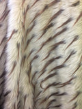 Faux Fake Fur 2 Tone Spiked Shaggy Long Pile Fabric / Light Mocha/Brown / Sold By The Yard