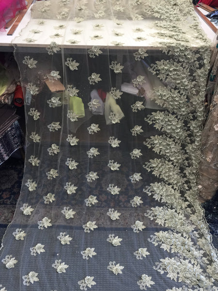 Beaded Fabric - Sage Embroidered Lace Beads By The Yard For Bridal Veil Mesh Dress Top Wedding Decoration