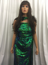 Load image into Gallery viewer, 4 Way Stretch Iridescent Geometric Jade Sequins Fabric - By The Yard - Embroidered Mesh Sequin For Dress Top Fashion Prom Fabric Bridal Wedding