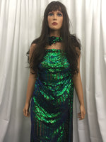 4 Way Stretch Iridescent Geometric Jade Sequins Fabric - By The Yard - Embroidered Mesh Sequin For Dress Top Fashion Prom Fabric Bridal Wedding