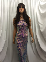4 Way Stretch Iridescent Lilac Sequins Fabric - By The Yard - Embroidered Mesh Sequin For Dress Top Fashion Prom Fabric