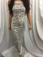 4 Way Stretch Silver Sequins Fabric - By The Yard - Embroidered Mesh Sequin Hologram For Dress Top Fashion Bridal Veil Wedding