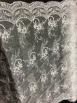 Metallic Embroidered Sequins Lace fabric Silver Flower/Floral Mesh Bridal Wedding Dress By The Yard