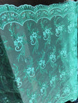 Metallic Embroidered Sequins Lace fabric Mint Flower/Floral Mesh Bridal Wedding Dress By The Yard