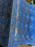 Metallic Embroidered Sequins Lace fabric Royal Flower/Floral Mesh Bridal Wedding Dress By The Yard