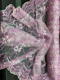 Metallic Embroidered Sequins Lace fabric Lilac Flower/Floral Mesh Bridal Wedding Dress By The Yard