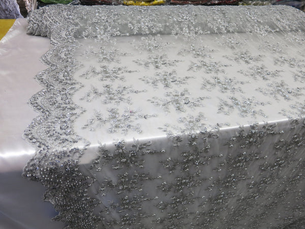 Silver Flower Bridal Beaded Fabric Heavy Embroidered Mesh Lace Fabric By The Yard