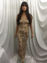 Load image into Gallery viewer, Lt Khaki Power Mesh - 4 Way Stretch Fabric Embroidered Sequins Lace Fashion Dress Wedding Decoration By The Yard