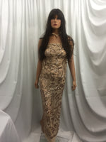 Lt Khaki Power Mesh - 4 Way Stretch Fabric Embroidered Sequins Lace Fashion Dress Wedding Decoration By The Yard