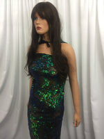 Jade Multi-Color Power Mesh - 4 Way Stretch Fabric Embroidered Sequins Lace Fashion Dress Wedding Decoration By The Yard