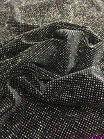 4 Way Stretch Velvet with Lurex 400 Grams / By The Yard. Iridescent Black