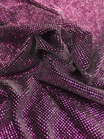 4 Way Stretch Velvet with Lurex 400 Grams / By The Yard. Fuchsia Black