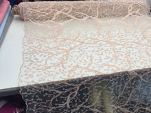 Load image into Gallery viewer, Beaded Fabric - Peach - Lace By The Yard Embroidered Lace With Beads And Sequins French Bridal Veil Wedding Decoration Home