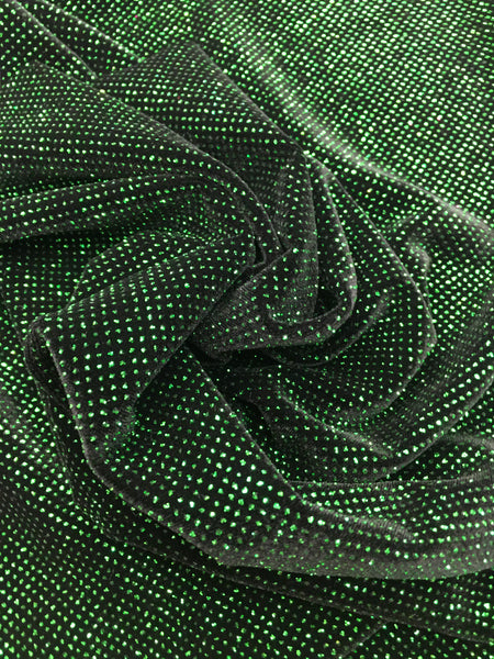 4 Way Stretch Velvet with Lurex 400 Grams / By The Yard. Kelly Green Black