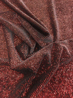 4 Way Stretch Velvet with Lurex 400 Grams / By The Yard. Red Black