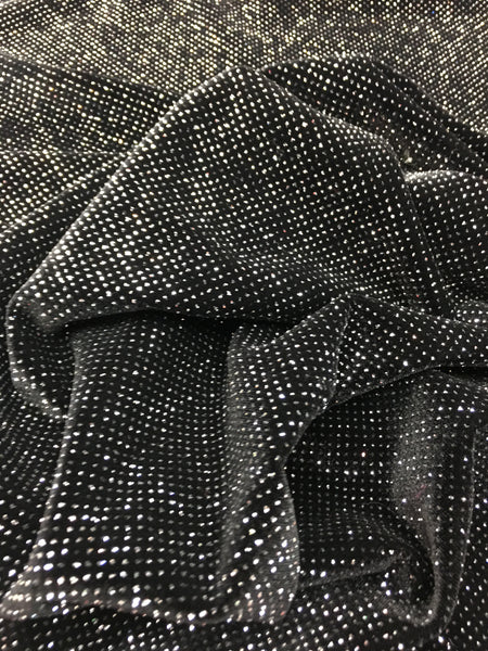 4 Way Stretch Velvet with Lurex 400 Grams / By The Yard. Gold Black