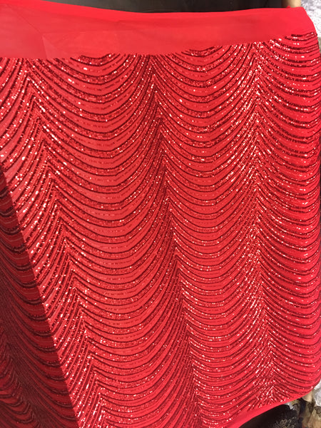 Wave Designs Sold By The Yard Red 4 Way Stretch Fabric Sequins Fabric Embroidered On Red Power Mesh Dress Top