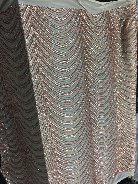 Wave Designs Sold By The Yard Champagne 4 Way Stretch Fabric Sequins Fabric Embroidered On Nude Power Mesh Dress Top