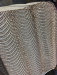 Wave Designs Sold By The Yard Gold 4 Way Stretch Fabric Sequins Fabric Embroidered On Nude Power Mesh Dress Top