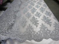 Embroidered Lace fabric Silver Flower/Floral Sequins Corded Mesh Bridal Wedding Dress By The Yard