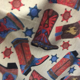 Cowboy Boots Tan By David Textiles Fleece Printed Fabric - By The Yard (1016) Baby Blanket Warm Licensed Decor Clothing Western