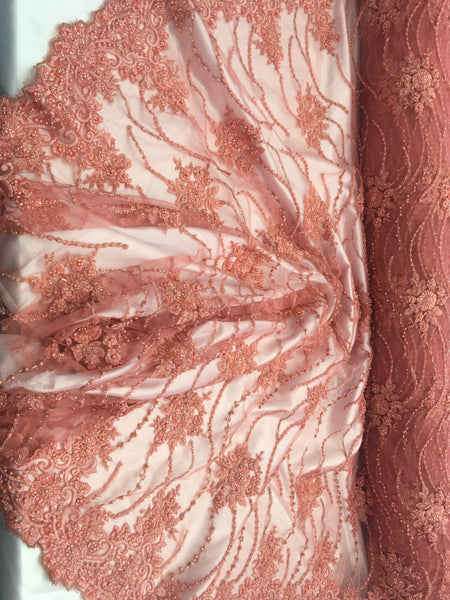 Coral/Peach Beaded Floral/Flower Mesh Lace Beaded Fabric Lace Fabric By The Yard Embroider Beaded On A Mesh For Bridal Veil.
