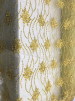 Yellow Beaded Floral/Flower Mesh Lace Beaded Fabric Lace Fabric By The Yard Embroider Beaded On A Mesh For Bridal Veil.