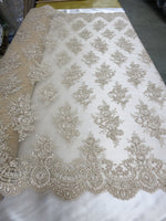 Embroidered Lace fabric Champagne Flower/Floral Sequins Corded Mesh Bridal Wedding Dress By The Yard