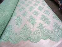 Embroidered Lace fabric Mint Flower/Floral Sequins Corded Mesh Bridal Wedding Dress By The Yard