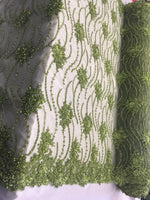 Avocado Green Beaded Floral/Flower Mesh Lace Beaded Fabric Lace Fabric By The Yard Embroider Beaded On A Mesh For Bridal Veil.