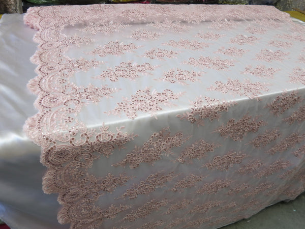Embroidered Lace fabric Pink Flower/Floral Sequins Corded Mesh Bridal Wedding Dress By The Yard