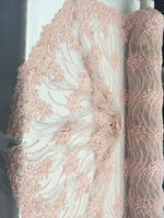 Pink Beaded Floral/Flower Mesh Lace Beaded Fabric Lace Fabric By The Yard Embroider Beaded On A Mesh For Bridal Veil.