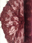 Burgundy Beaded Floral/Flower Mesh Lace Beaded Fabric Lace Fabric By The Yard Embroider Beaded On A Mesh For Bridal Veil.