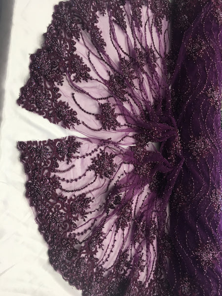 Purple Beaded Floral/Flower Mesh Lace Beaded Fabric Lace Fabric By The Yard Embroider Beaded On A Mesh For Bridal Veil.