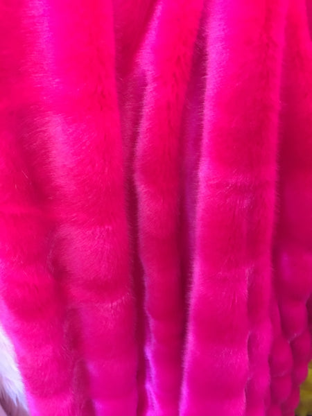 Neon Fuchsia Chinchilla Mink Rabbit Furs Faux Furs Soft and Luxury Supplies Fabrics Decors By the Yard