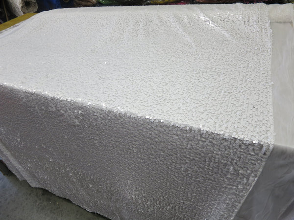 Drop Sequin Fabric / White / Sold By The Yard